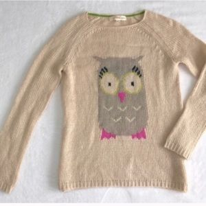 Owl print owl motif knit cream sweater Rewind